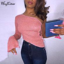 Hugcitar-Camiseta de manga larga con un hombro al aire para mujer, blusa Sexy con agujeros Irregular, trajes de Club de fiesta para otoño e invierno, 2020