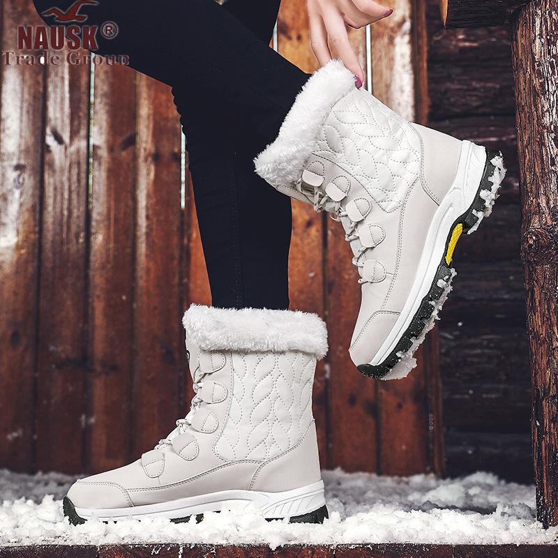 New Fashion Pu Leather Women Snow Boots Winter Warm Plush Women's Boots Waterproof Ankle Boots Flat Shoes 36-42 Botas Mujer