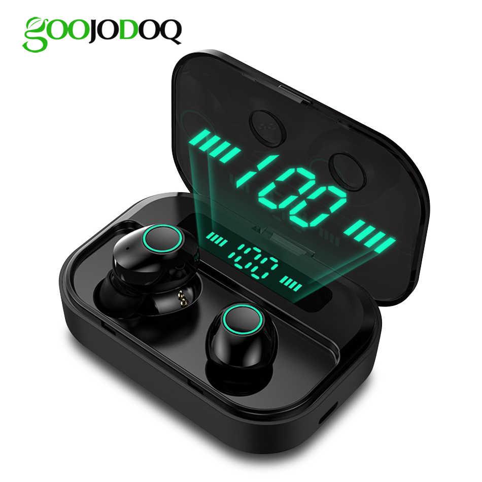 Ture bezprzewodowy/a słuchawki IPX7 TWS 5.0 Bluetooth słuchawka Hi-Fi zestaw słuchawkowy sportów wodoodporny zegarek LED słuchawki douszne z mikrofonem banku mocy