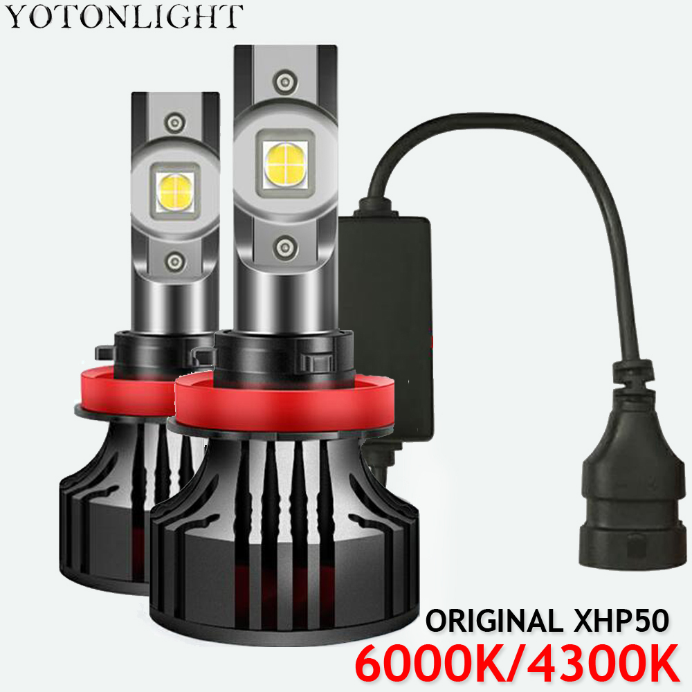 2 Pcs H7 Led Bulb H4 Led H1 H11 9005 hb3 9006 Hb4 4300K Car Headlight Original XHP50 H8 H9 80W 18000LM 6000K 12V image