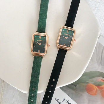 Rectangle Women Fashion Watches Elegant Ladeis Quartz Wristwatches Ulzzang Luxury Brand Black Green Female Watch Leather Clock ulzzang fashion brand women bracelet watches retro brown vintage leather watch female quartz clock casual ladies wristwatches