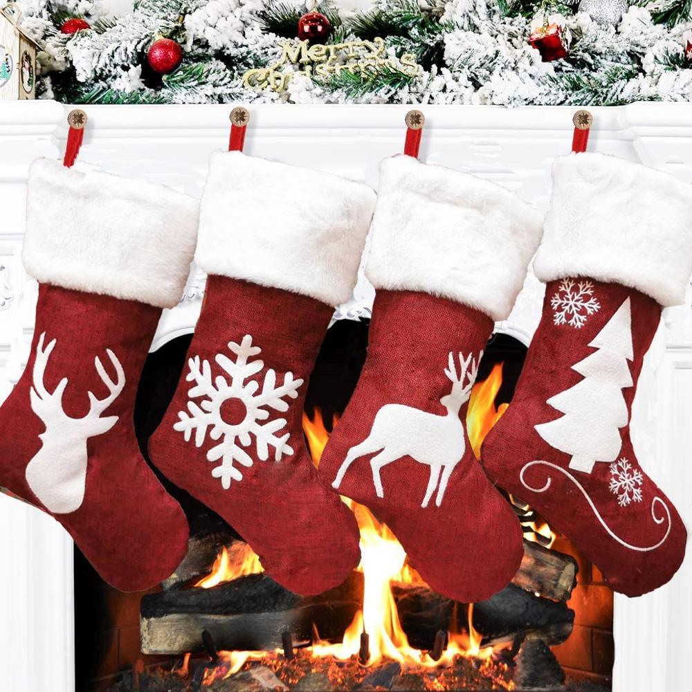 Красный олень Лось Снежинка рождественские чулки для детей подарки сумка Рождественская елка украшение