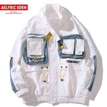 Aelfric Edén cremallera bolsillos Patchwork hombres Casual Cargo chaqueta 2019 Harajuku Streetwear abrigos Hip Hop hombre moda Tops de gran tamaño