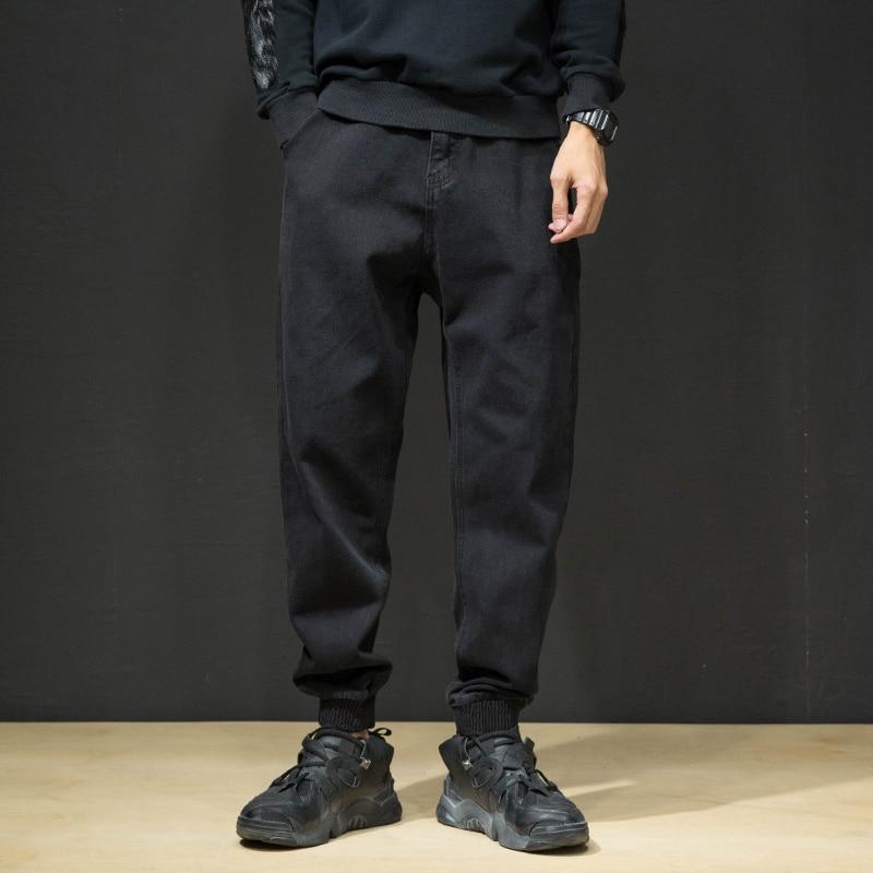 Fashion Men Jeans High Quality Black Color Spliced Designer Denim Cargo Pants Japanese Hip Hop Joggers Jeans Men Warm Pants