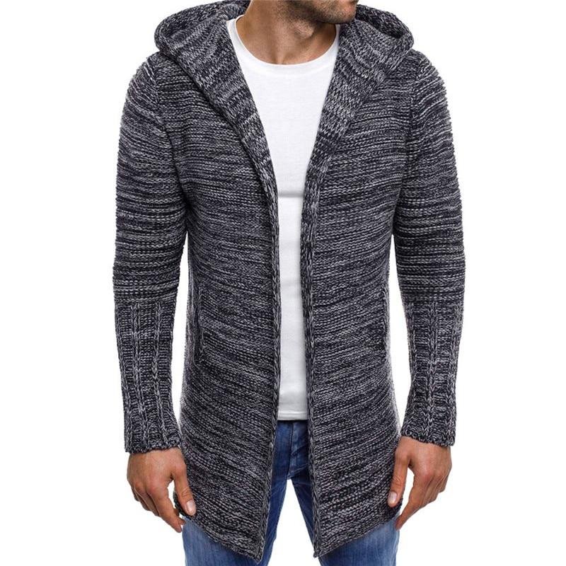 Men's Hooded Solid Knit Trench Coat Jacket Cardigan Long Sleeve Outwear Blouse Outwear Padded Hooded Down Winter Coat