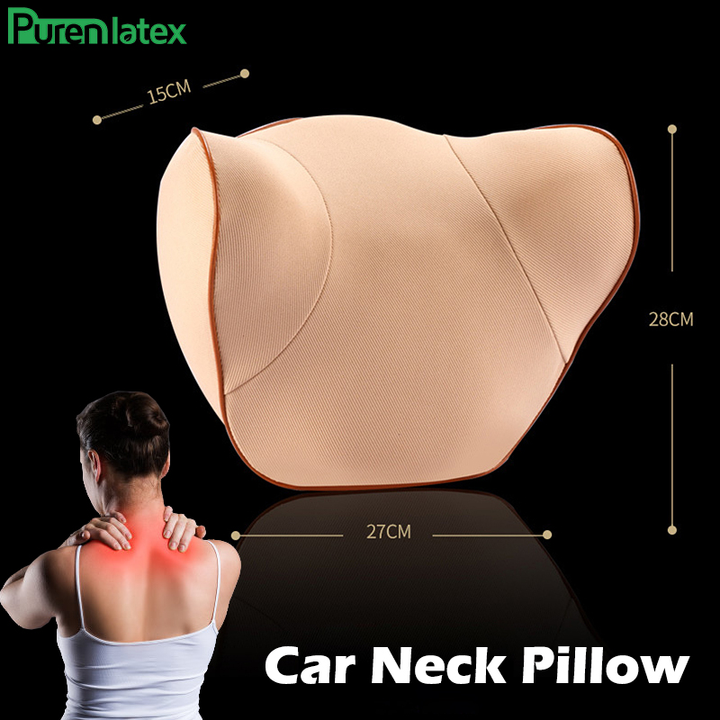 PurenLatex Car Headrest Pillow Memory Foam Cervical Orthopedic Support Cushion for Neck Pain Relieved Driving Adjustable Height|Travel Pillows| |  - title=