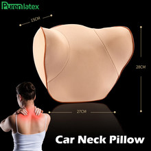 PurenLatex Car Headrest Pillow Memory Foam Cervical Orthopedic Support Cushion for Neck Pain Relieved Driving Adjustable Height(China)