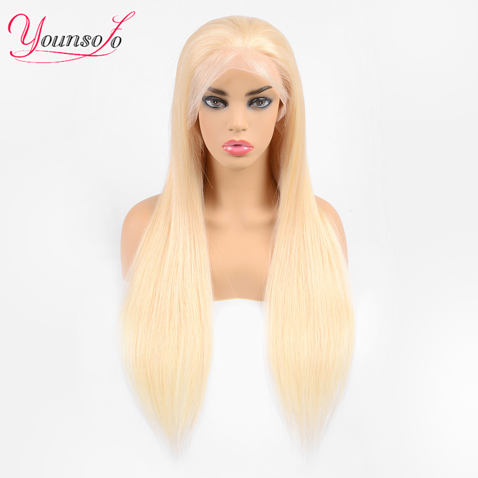 Younsolo 613 Lace Front Wig Remy Hair Lace Frontal Wig 13X4 Malaysian 150% Density Straight Lace Front Human Hair Wigs
