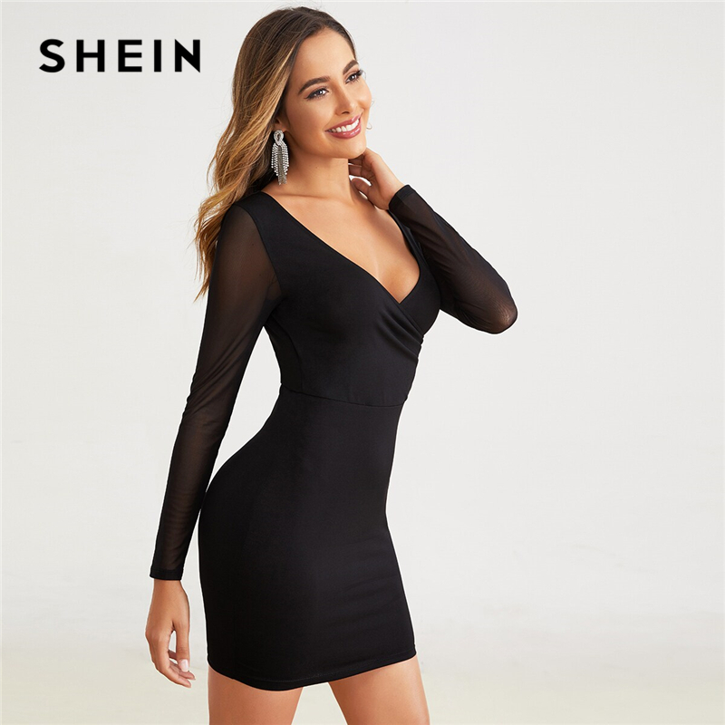 SHEIN Surplice Neck Ruched Detail V-back Mesh Sleeve Dress Women Autumn Solid Slim Fitted High Waist Mini Sexy Bodycon Dresses