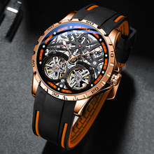 AILANG Skeleton Tourbillon Mens Watches Mens Rose Gold Case Silicon Strap Automatic Mechanical Wristwatch Relogio Masculino 2020(China)