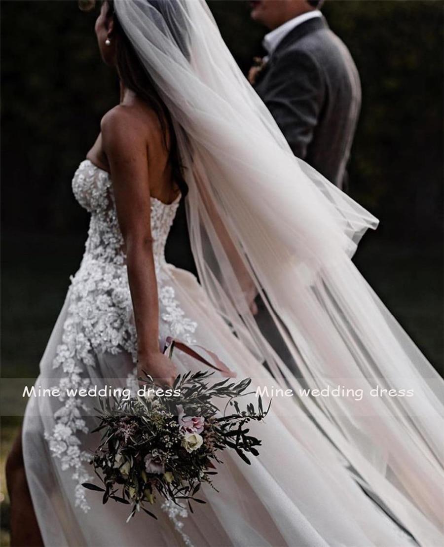 Sheer Lace  Applique Wedding Dresses Strapless 2