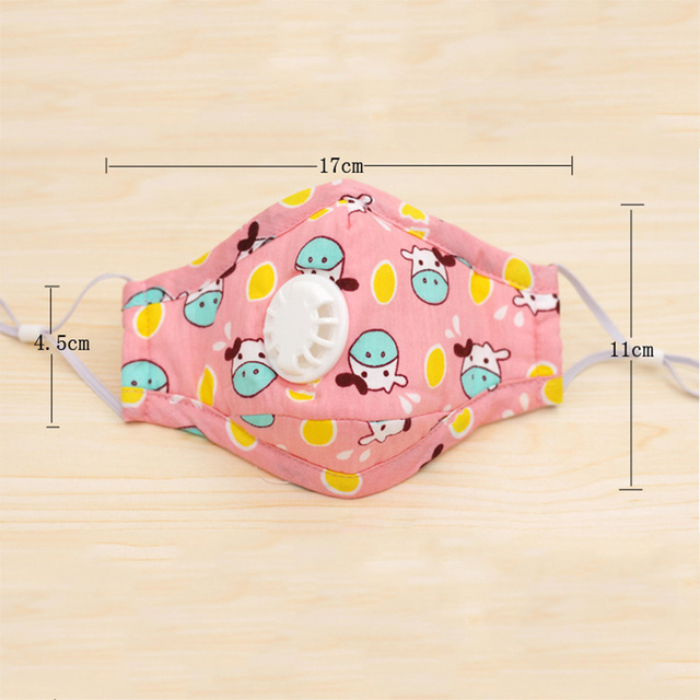 PM2.5 Mask For Kids Child Small Masks Anti-Dust Prevent Flu Safety Breathing Air Valve Cartoon Cute Mouth Mask PM2.5 Filtration 1