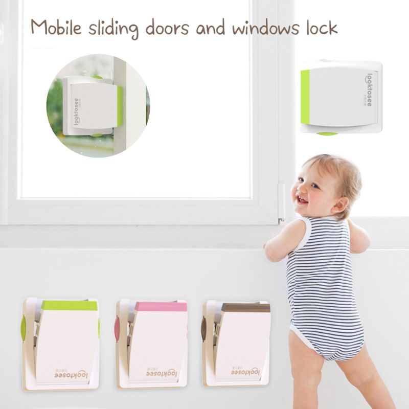 Kids Baby Sliding Window Door Guard Stopper Child Proof Drawer Handle Lock Jammer Children Safety Care Home Room Accessory K4UE