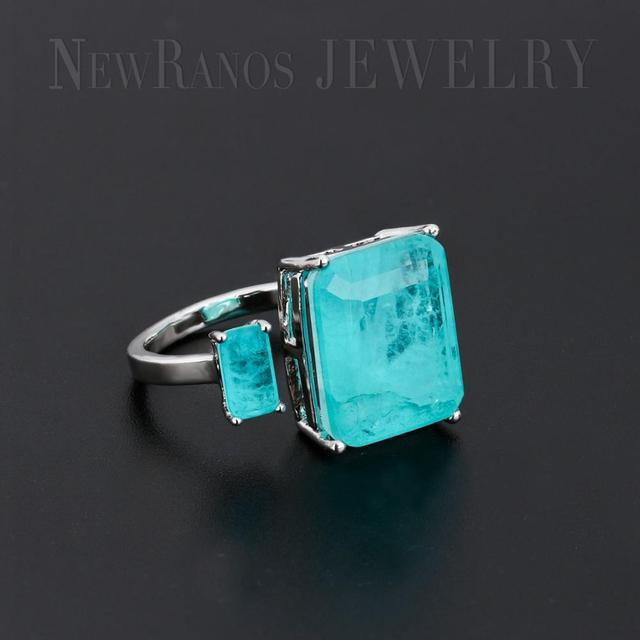Newranos Square Fusion Stone Finger Ring Blue Natural Double Stone Opening Ring for Women Fashion Jewelry RFX001904