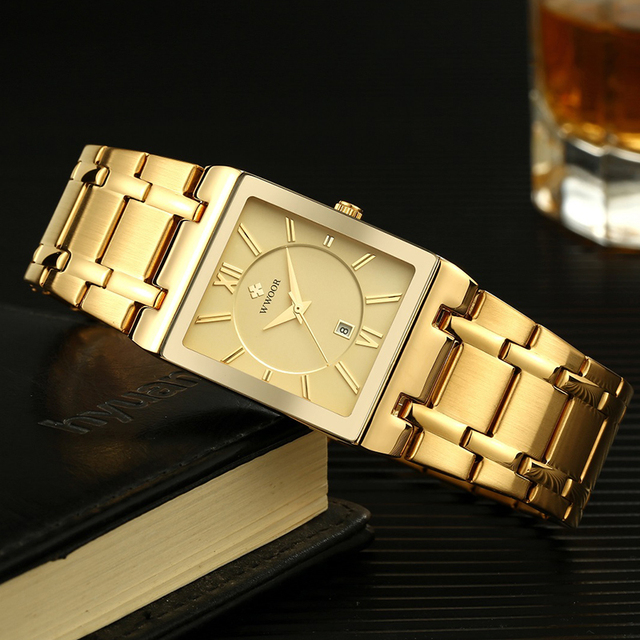 Relogio Masculino WWOOR Gold Watch Men Square Mens Watches Top Brand Luxury Golden Quartz Stainless Steel Waterproof Wrist Watch 4