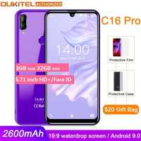 OUKITEL C16 PRO 5.71'' HD+ Waterdrop Big Screen 4G Smartphone MT6761P Quad Core 3GB 32GB Android 9.0 Pie Face ID Mobile Phone