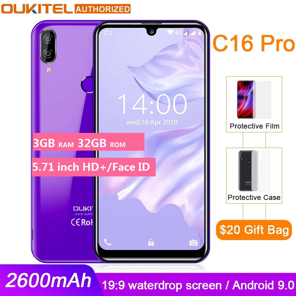 OUKITEL C16 PRO 5.71 ''HD + Waterdrop grand écran 4G Smartphone MT6761P Quad Core 3GB 32GB Android 9.0 Pie Face ID téléphone portable