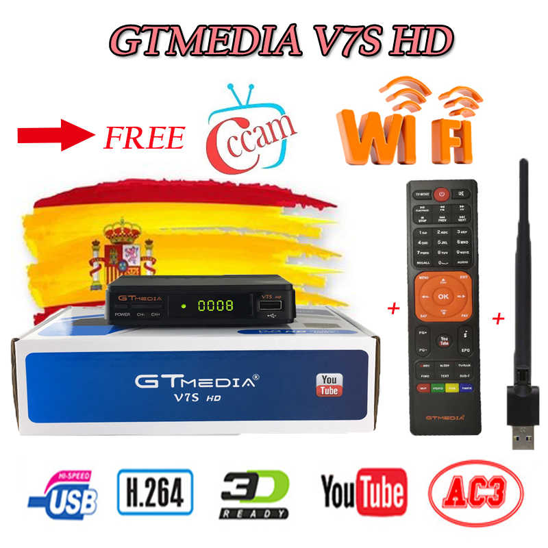 Spanje Levering Satelliet Tv Ontvanger Gtmedia V7S Hd Receptor Ondersteuning Europa Cline Voor DVB-S2 Youtube Full Hd 1080P Freesat v7 Hd