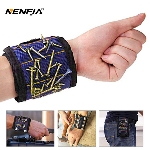 Portable Electrician Wrist Tool Belt Bag Polyester Magnetic Wristband Bracelet Screw Nail Drill Bit Holder Repair Tools Toolbox
