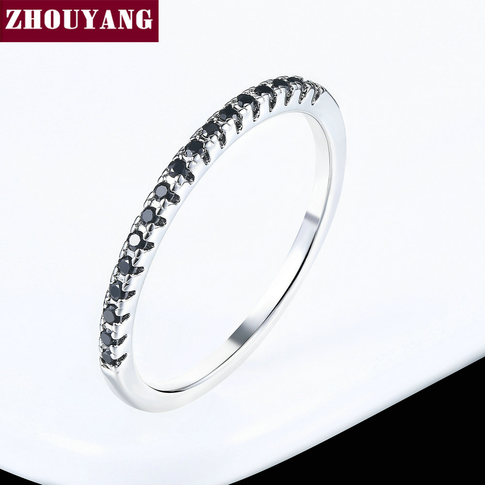ZHOUYANG обручальное кольцо для женщин и мужчин лаконичное классическое многоцветное мини кубическое циркониевое розовое золото цвет подарок модное ювелирное изделие R251 - Цвет основного камня: R039