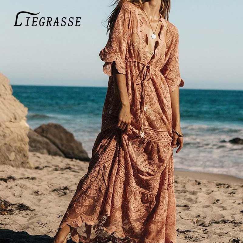 Liegrasse robe de plage tuniques cache robe pour femme vêtements robe d'été cou imprimé femmes lin Sierra Surfer
