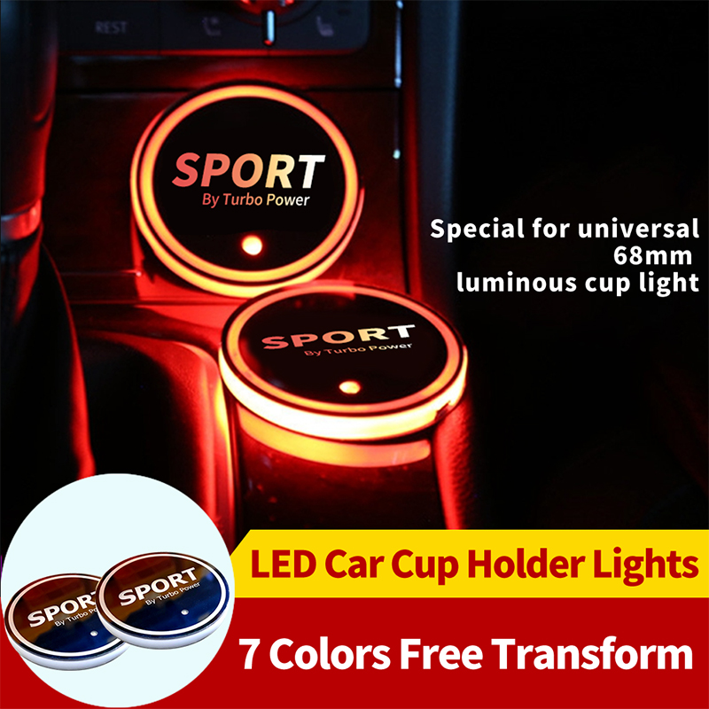 2pcs/set <font><b>Car</b></font> <font><b>Logo</b></font> <font><b>LED</b></font> Colorful Water Cup Mat Lights Seat Trim Accessories <font><b>USB</b></font> Colorful Light <font><b>Car</b></font> <font><b>LED</b></font> Hight Cup Holder Styling image