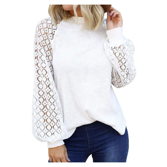 40# Autumn Winter Women Blouse O-neck Long-sleeved Lace Stitching Loose Tops Women Shirt Clothing Women Clothes Блузка Женская 4