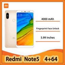 Redmi Nota 5 4g 64g Smartphone de huellas dactilares de desbloqueo facial CN versión con Marco Mundial 4000mAh usado