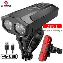 Luz LED X TIGER para bicicleta, linterna a prueba de lluvia, recargable por USB, 1800 lúmenes, accesorios para bicicleta de montaña y carretera