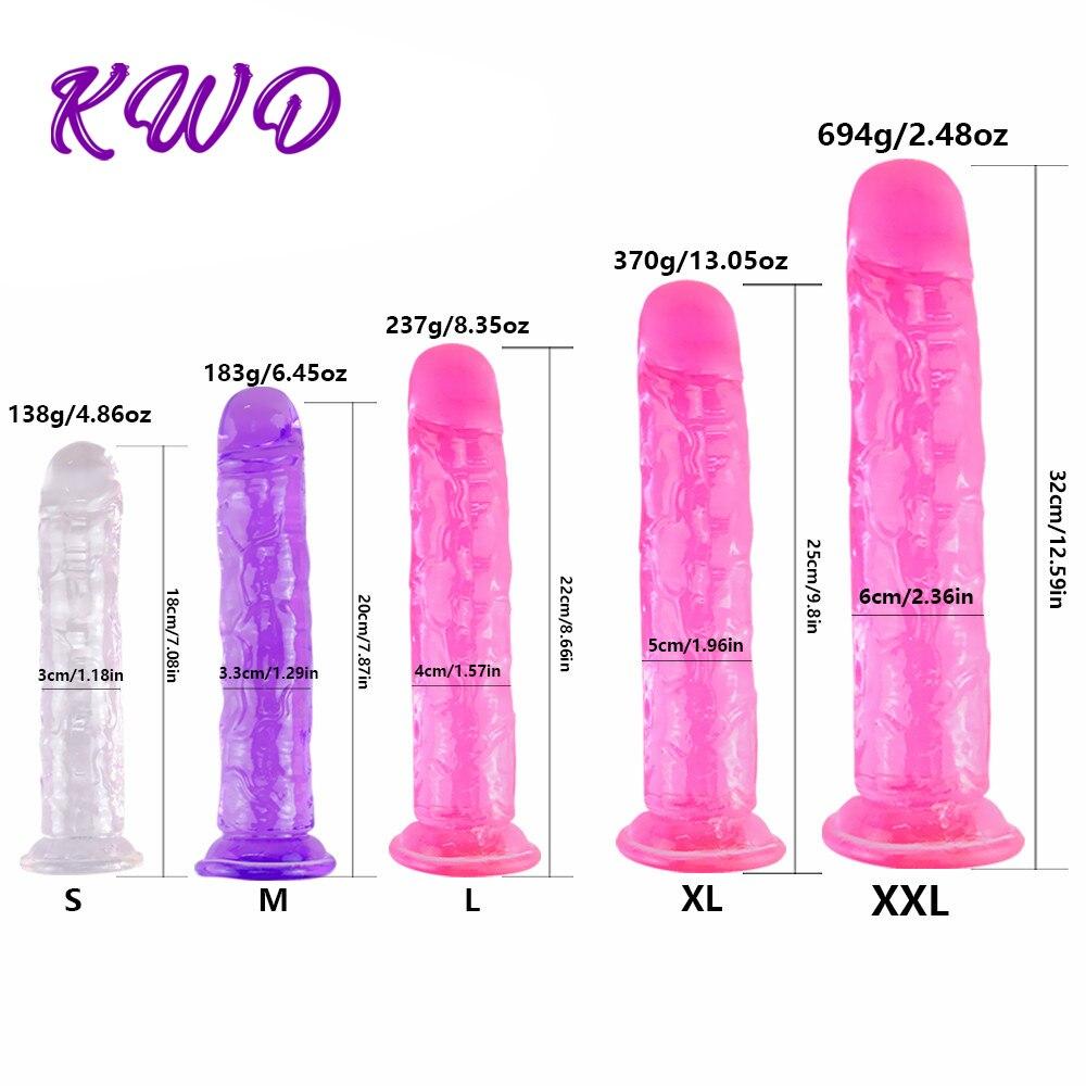 Реалистичный фаллоимитатор с супер сильной присоской, эротический Желейный фаллоимитатор, секс игрушки для женщин, искусственный пенис, симуляция точки G|Дилдо|   | АлиЭкспресс