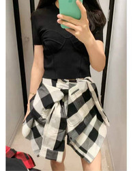 Women Plaid Sleeves Two Pieces of Casual Pants and Shorts A2