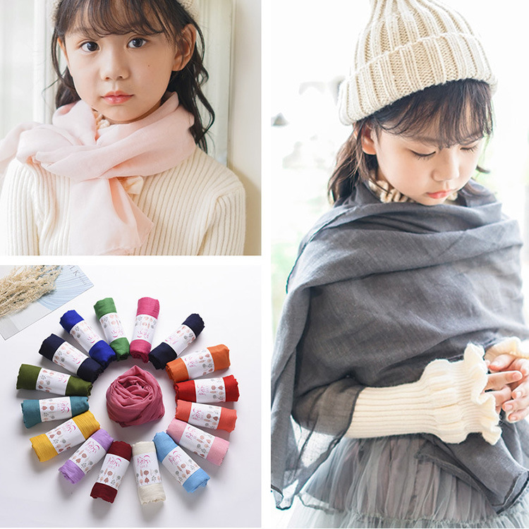 Children Autumn And Winter Scarf Solid Color Female Baby Scarf Spring And Autumn Cotton Korean-style Fashion BOY'S Scarf Parent