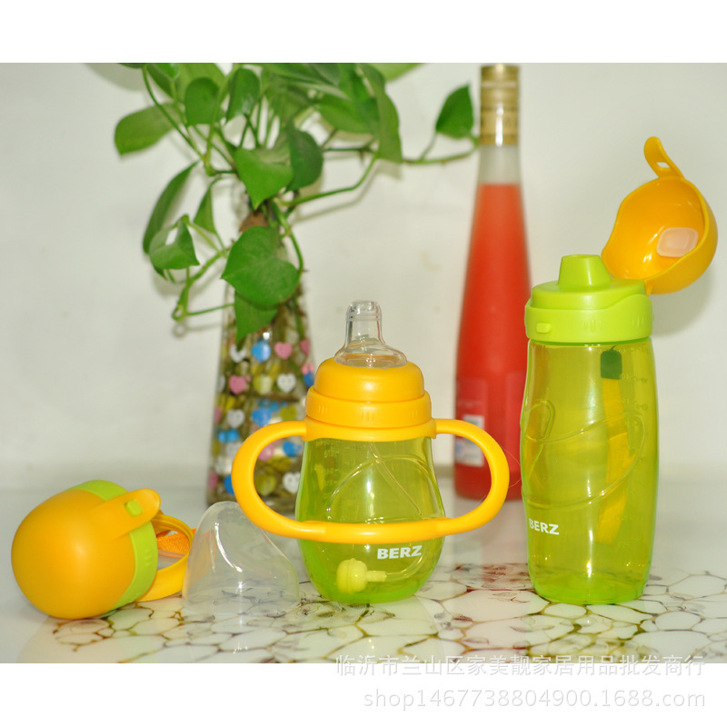 Baby Cup With Straw Plastic Children Learn To Drink Training Baby Belt Handle Feeding Bottle Pp Sippy Cup