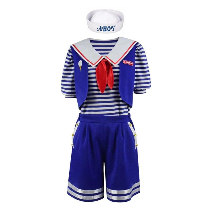 Stranger Things 3 Scoops Ahoy Robin Cosplay Costume Dress Steve Harrington Adult Uniform Working Sailor Suit Halloween