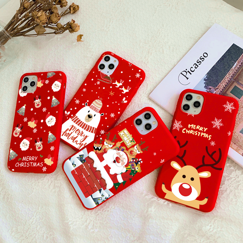 Merry Christmas Cartoon Elk Case For iPhone 12 11 Pro Max X XR Xs MAX Phone Case For iPhone 7 8 6 S Plus 5 SE 2020 Silicon Cover
