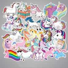 50 Uds pegatinas de unicornio coloridas y lindas para el coche del ordenador portátil, teléfono, equipaje, bicicleta, motocicleta, pegatinas impermeables de Pvc de dibujos animados mezclados