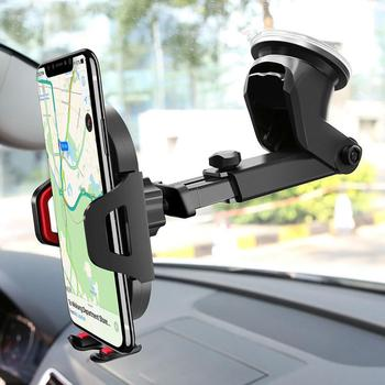 Windshield Gravity Suction Cup Carbon Fiber Car Phone Holder for IPhone X /8 Plus /7 Holder for Car Mobile Support Smartphone image