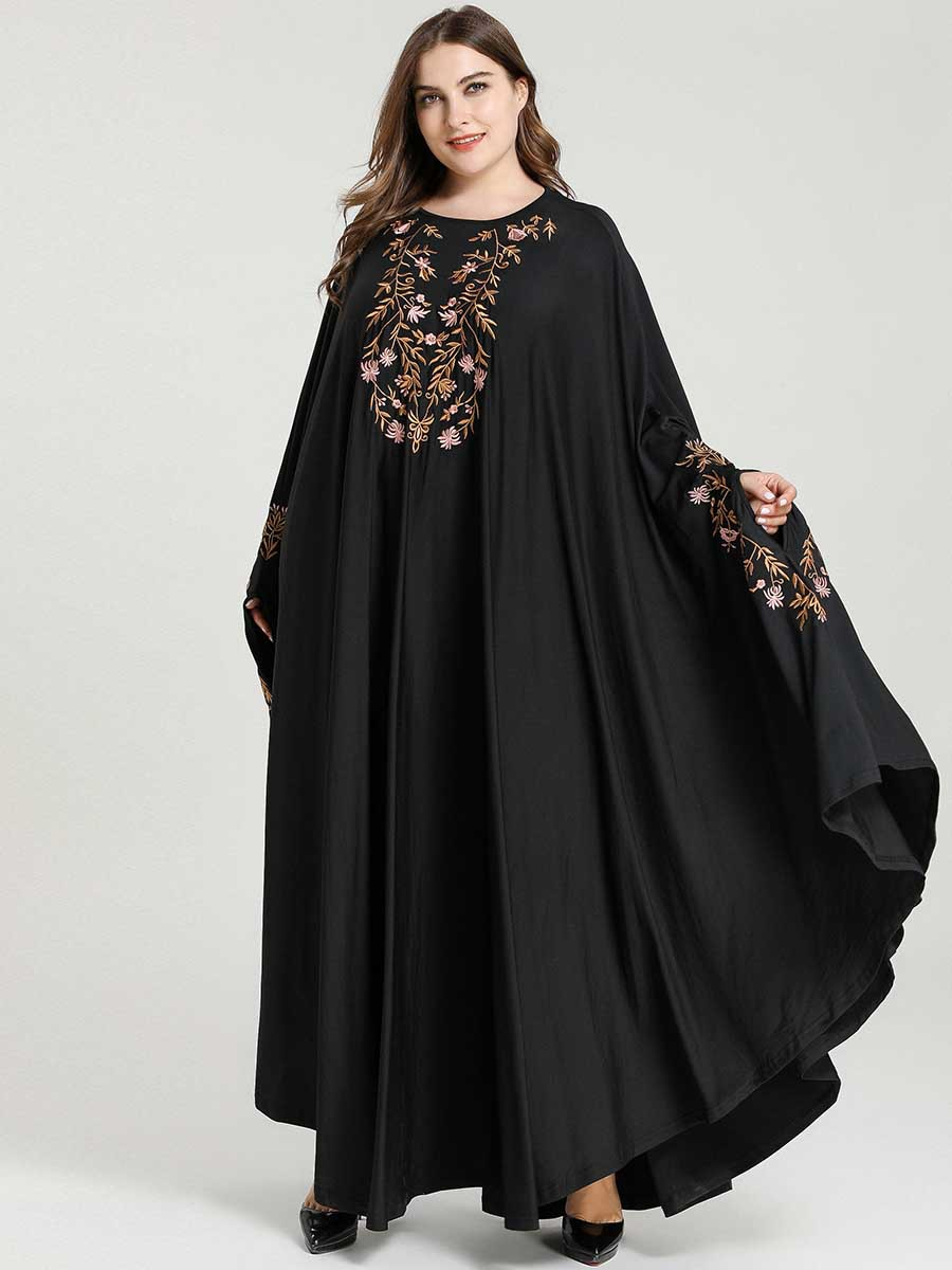 Plus Size Women Loose Black Embroidery Bat Sleeve Dress Muslim Abaya Dress Ramadan Robe Islamic Kaftan Turkey Dubai Abaya Dress