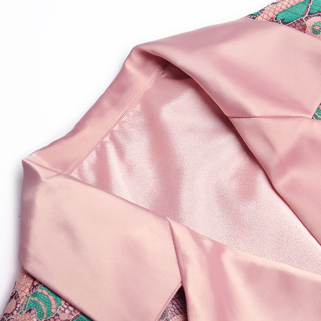 Novedad de 2020, traje de dos piezas para mujer, conjunto de manga de tres cuartos, chaqueta con encaje Floral, pantalones de pierna ancha, traje de moda de pasarela
