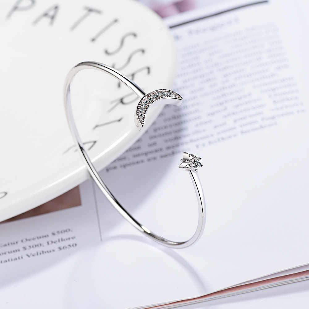 Lekani S925 Zilveren Sterren Maan Armband Vrouwelijke Diamanten Maan Gebogen Open Bangles Armband Vrouwelijke