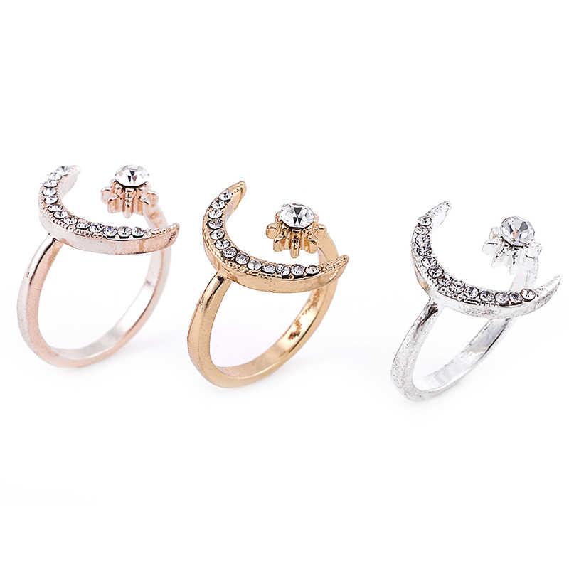 Открытое регулируемое кольцо Модные кольца с Луной и звездой женские свадебные украшения подарок