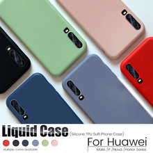 10x for Huawei P40 P30 P20 Lite Case Liquid Silicone Soft Cover for Huawei P40 P30 Lite Mate 20 30 Pro Honor 8X V30 Nova 6 Case hit color frosted case for huawei p40 pro mate30 mate 30 pro p30 pro luxury shockproof case for honor v30 pro soft silicone new