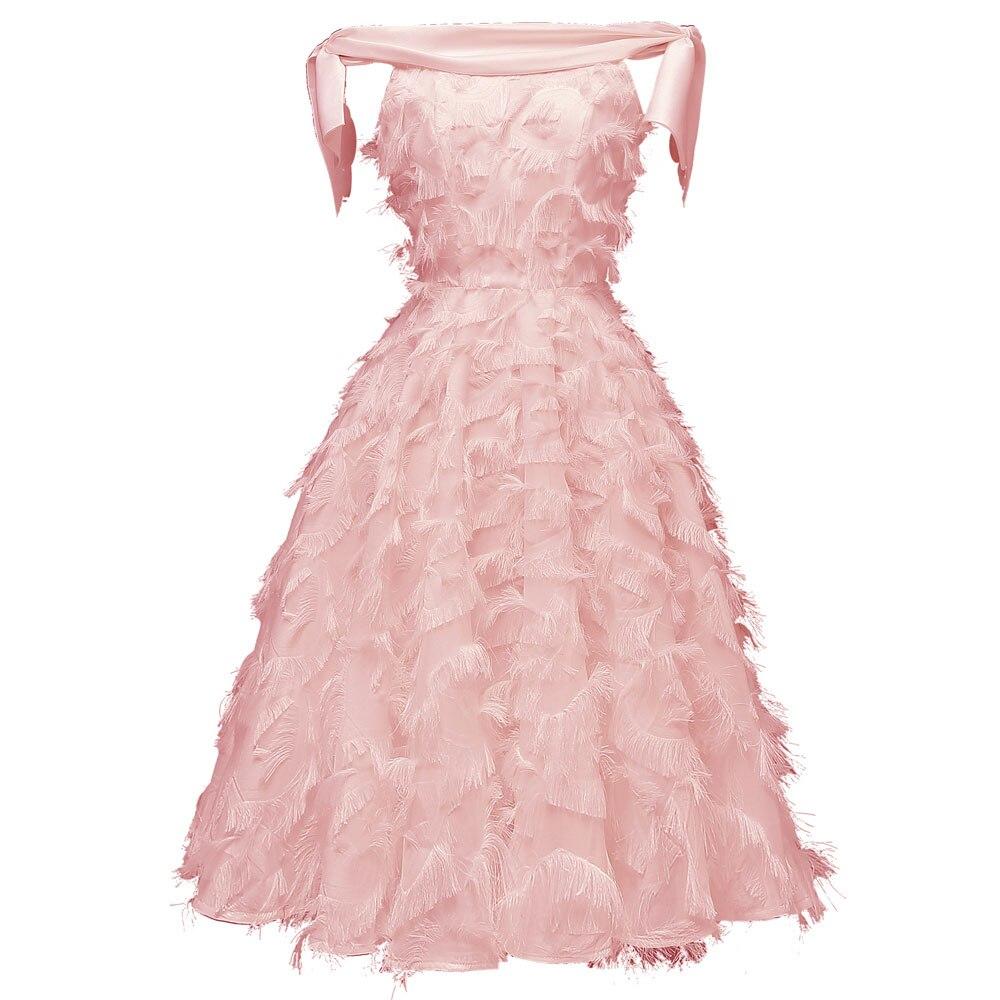 Красное коктейльное платье длиной до колена роскошное вечернее платье трапециевидной формы с кисточками сексуальное платье без рукавов с v-образным вырезом - Цвет: 1429 Pink