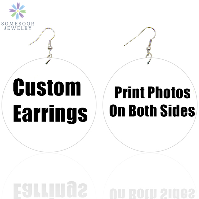 SOMESOOR Wholesale Custom African Wooden Drop Earrings Both Sides Printing Personalized Afro Black Pendant Dangle For Women Gift
