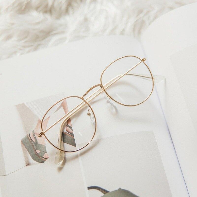 Retro Designer Metal Zero Diopter Eyewear Upscale Round Glasses Frame Optical Plain Myopia Frame