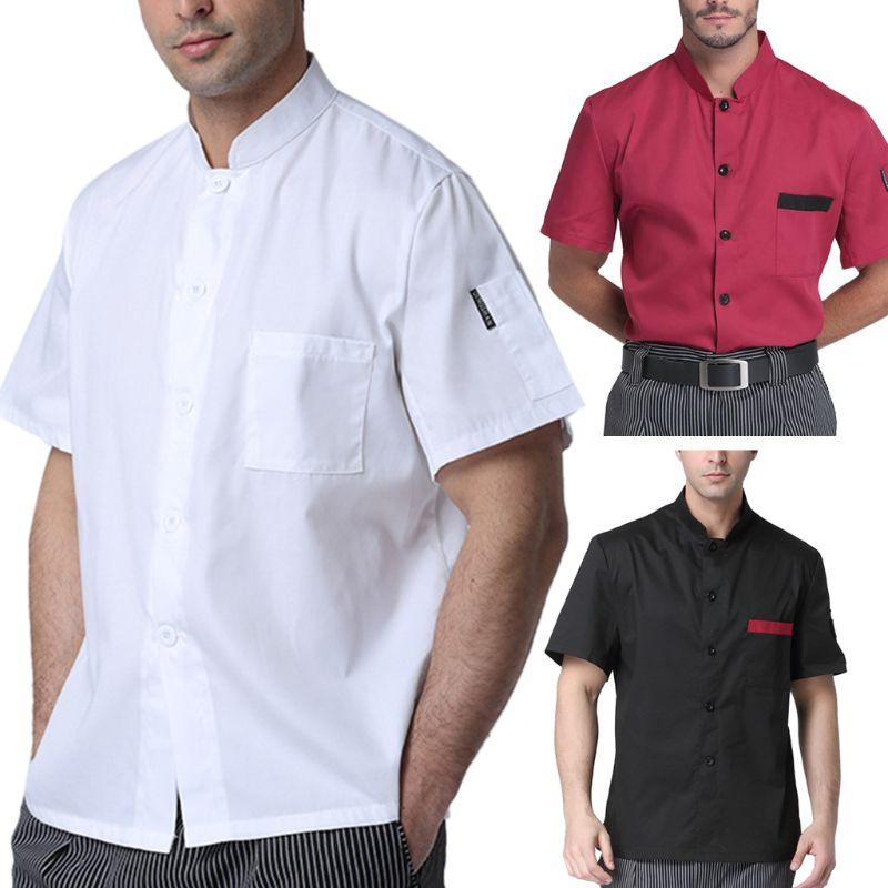Unisex Hotel Kitchen Uniform Short Sleeve Single-Breasted Chef Working Jacket Men Women Casual Summer Restaurant Worker Uniform