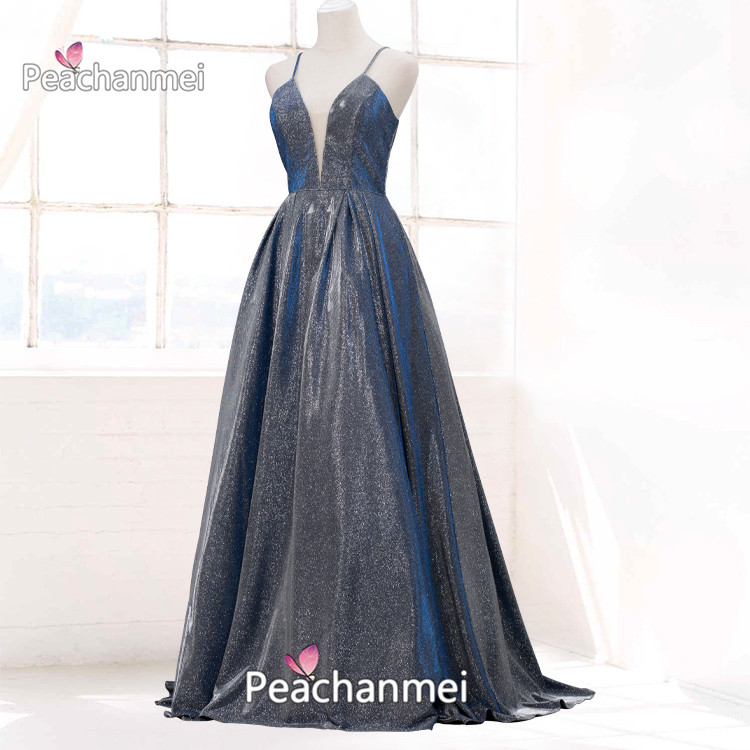 Real Photos Long Formal Evening Dress 2020 A Line Robe De Soiree Prom Dresses Glitter Spaghetti Ball Gowns Backless Party Dress