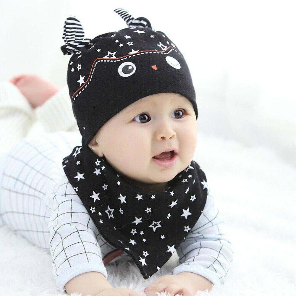 2019 New Fashion Cute Cartoon Set Toddler Kids Baby Boy Girl Winter Warm Beanie Hat Scarf Set 2 Pieces
