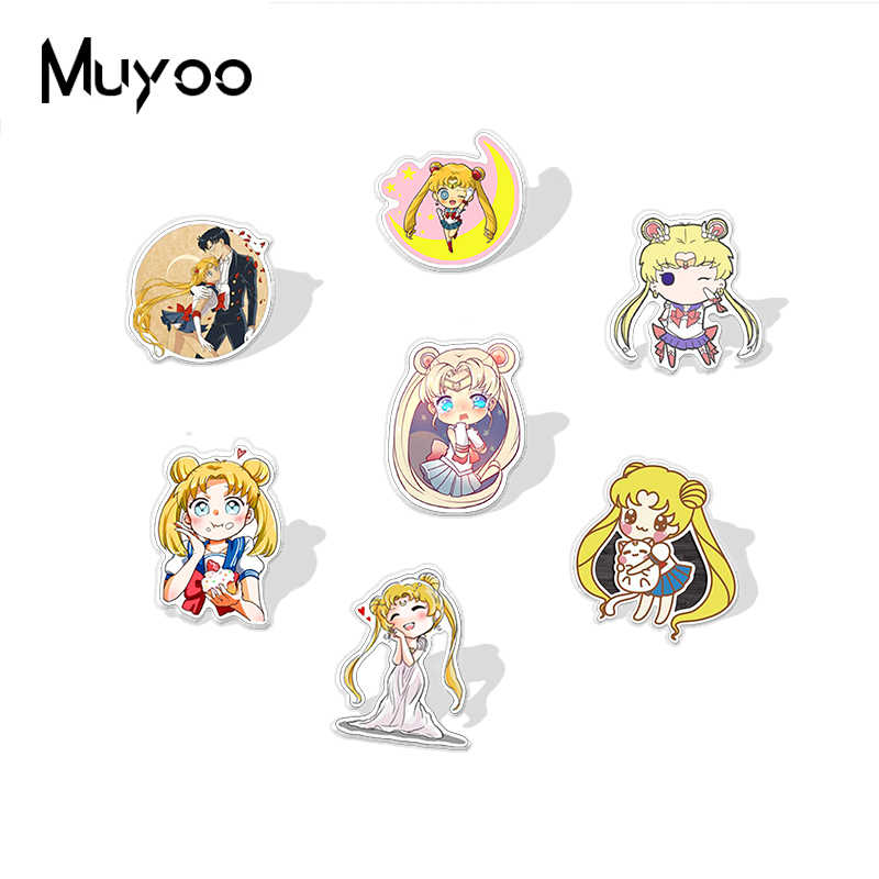 Baru Kedatangan Sailor Moon Akrilik Anime Kerah Pin Sailor Moon Power Pakaian Perhiasan Pin Kerajinan Epoxy Resin Akrilik Pin