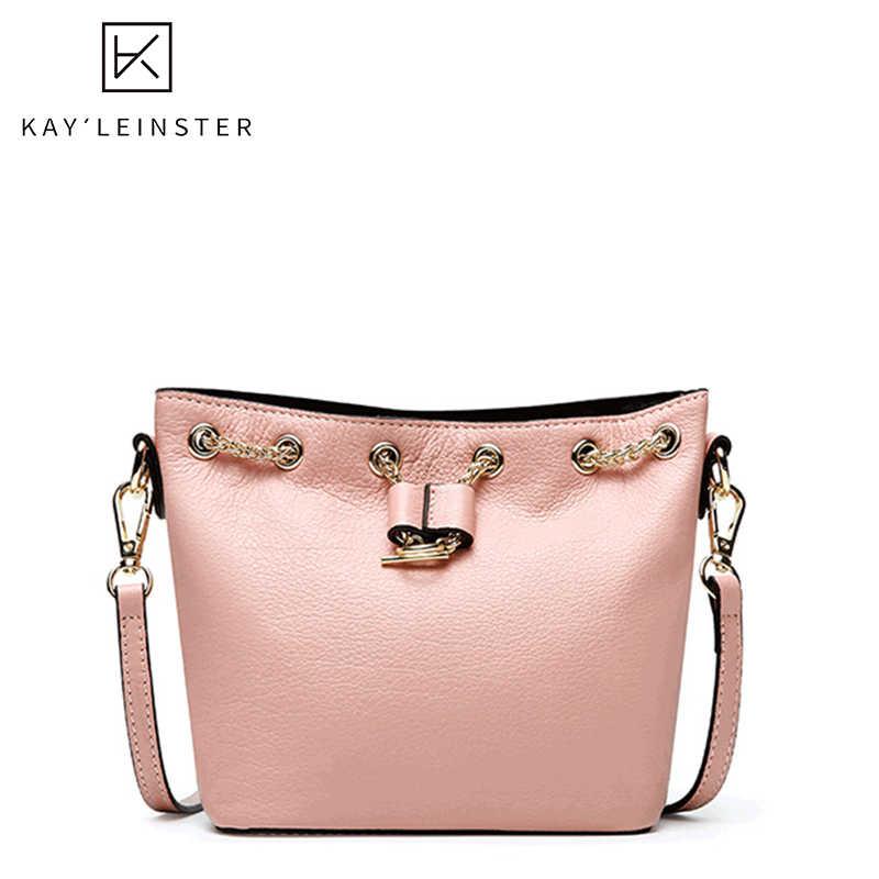 100% echtem Leder Eimer Frauen Taschen Luxus Handtaschen Frauen Umhängetaschen Designer Kordelzug Große Kapazität Weiblichen Handtasche